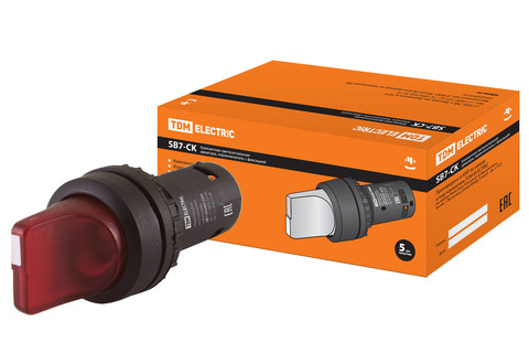 Переключатель на 3 положения с фиксацией SB7-CK3465-220V короткая ручка(LED) d22мм 1з+1р красный TDM