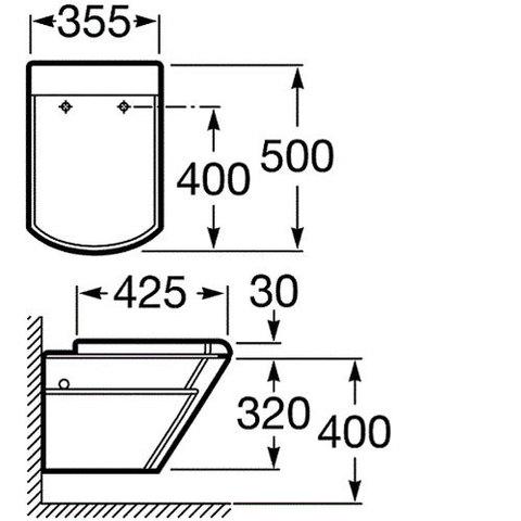 Унитаз подвесной Roca Hall 346627000 схема