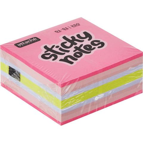 Стикеры Attache Selection Клубничный микс 51х51 мм неоновые и пастельные 4 цвета (1 блок, 250 листов)