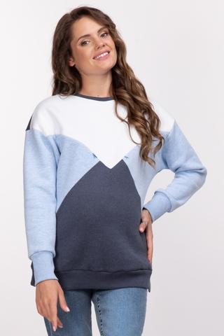 Утепленный свитшот для беременных и кормящих 11027 бело-голубой