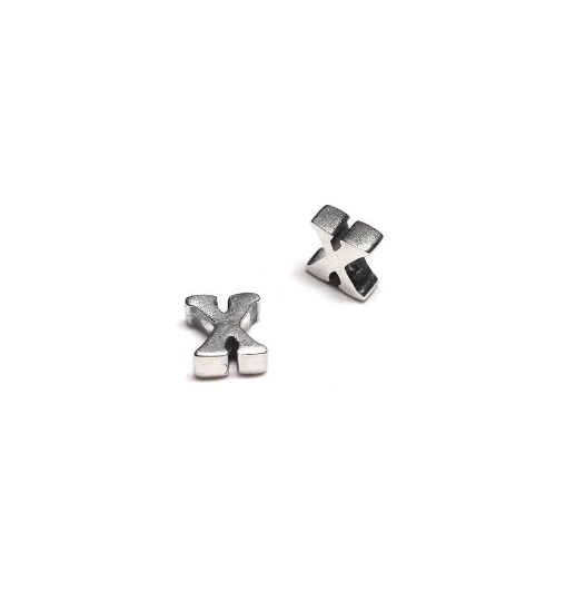 Alphabet letter X, sterling silver