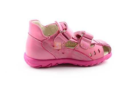 Босоножки Тотто из натуральной кожи с закрытым носом для девочек, цвет розовый. Изображение 4 из 12.