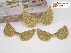 Декор глиттерный крылья золотые