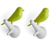 Вешалки-крючки настенные для одежды в прихожую Sparrow 2 шт. белые-зеленые Qualy QL10067-WH-GN | Купить в Москве, СПб и с доставкой по всей России | Интернет магазин www.Kitchen-Devices.ru