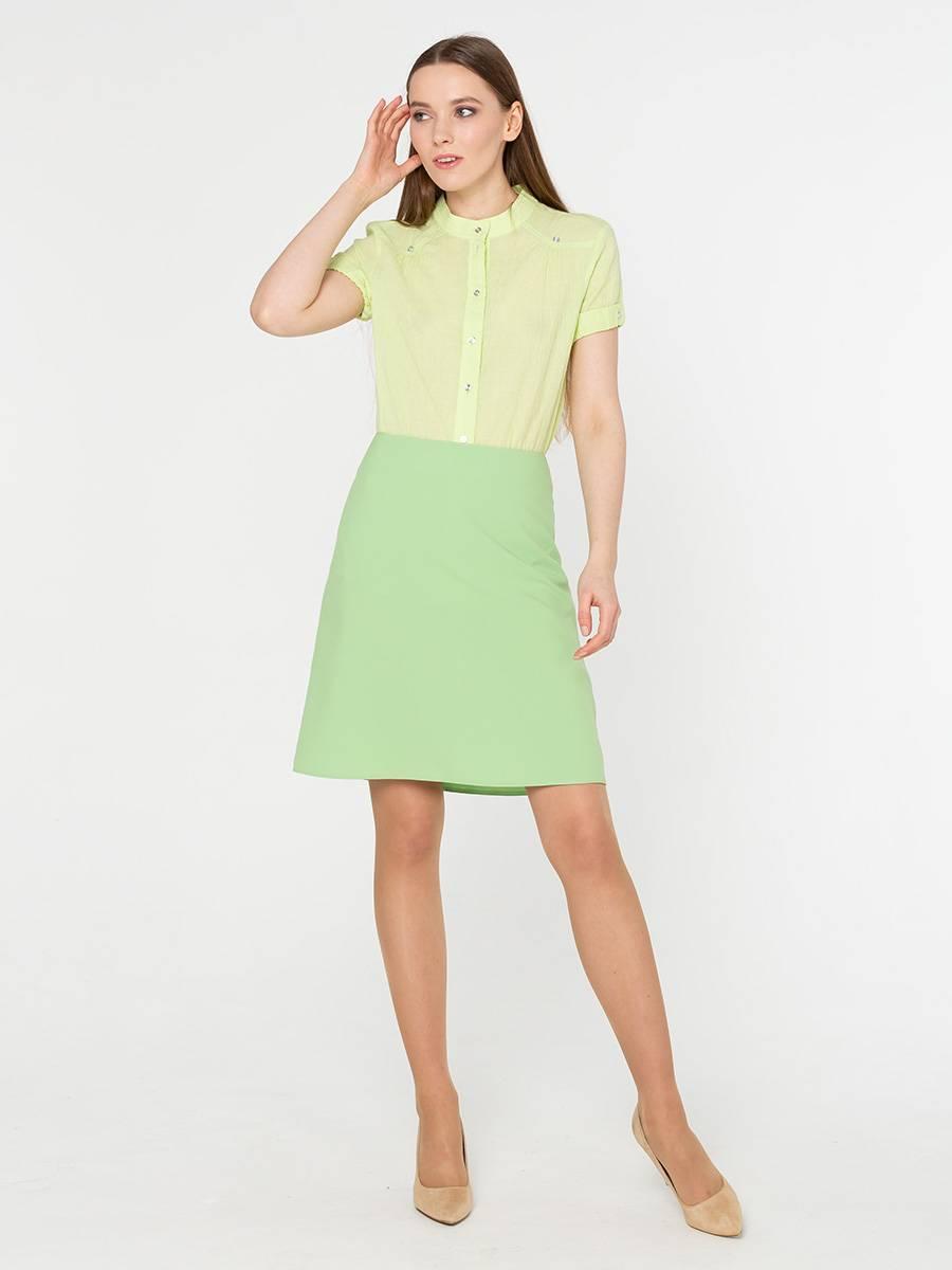Юбка Б032-505 - Модель классического стиля А-силуэта – идеальный повседневный  вариант для весенне-летнего периода. Выдержанный и лаконичный стиль – основа этой юбки.Ткань из полиэстера – первоначальная форма юбки сохранится даже при многочисленных стирках, не деформируется при носке и легка в уходе.Нежно-зеленый оттенок юбки превосходно сочетается с персиковым, песочным и светло-кремовым верхом. Создавайте новый образ каждый день, используя непревзойденные комбинации.
