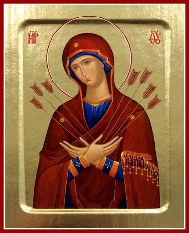 Семистрельная икона Божией Матери, на дереве, 125х160 мм