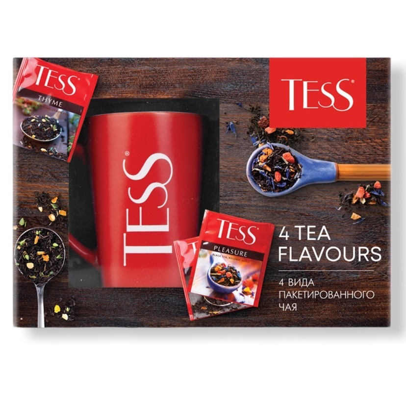 ТЕСС  Подарочный набор чая с керамической кружкой 4 вида по 25 шт каждого, пакетированный, 100 шт