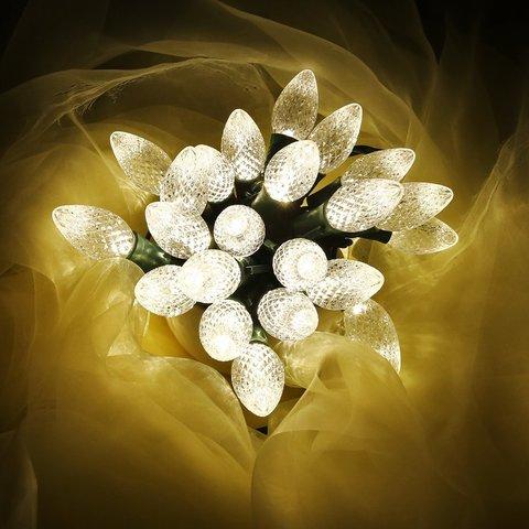 Гирлянда шарики шишки теплый белый цвет