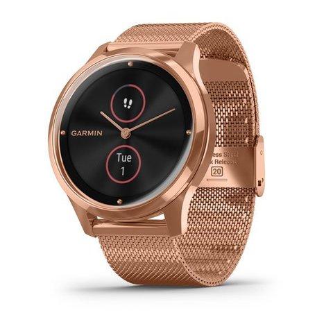 """Купить Умные часы Garmin Vívomove Luxe розовое золото PVD 18K с ремешком """"миланская петля"""" 010-02241-24 по доступной цене"""