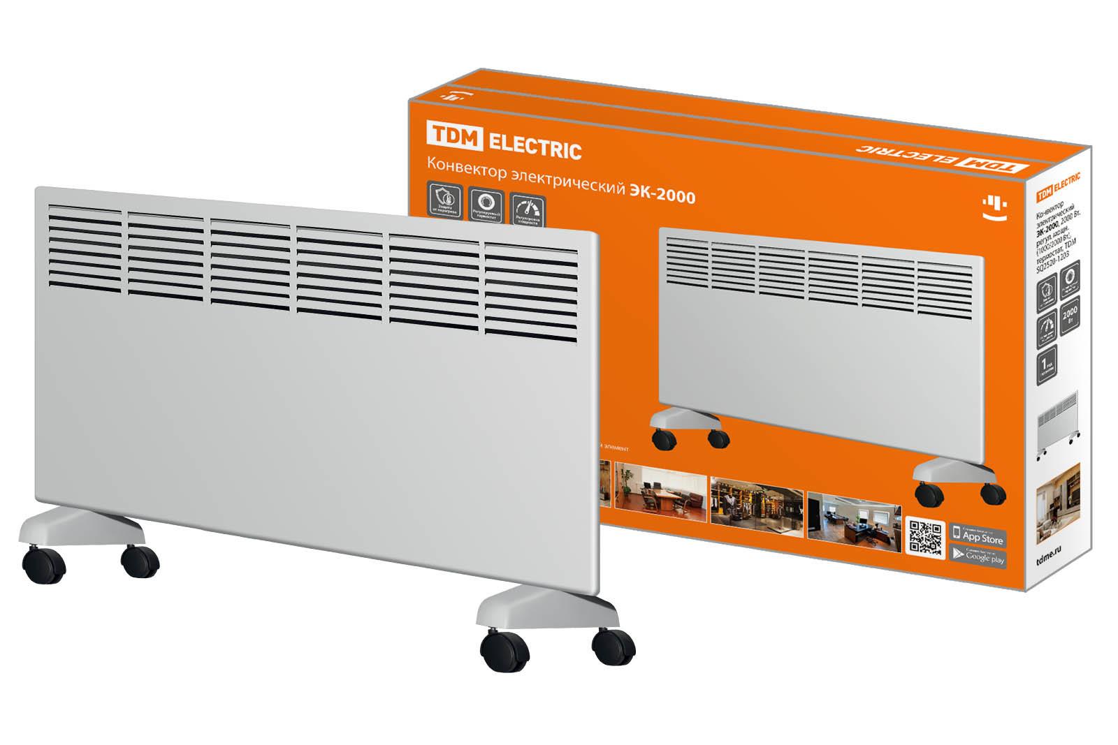 Конвектор электрический ЭК-2000, 2000 Вт, регул. мощн. (1000/2000 Вт), термостат, TDM