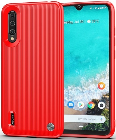 Чехол Xiaomi Mi A3 (CC9E) цвет Red (красный), серия Bevel, Caseport