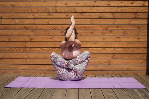 Каучуковый йога коврик YC Purple c разметкой 185*68*4,5см