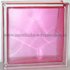 Стеклоблок  розовый волна окрашенный изнутри розовый Vitrablok 19x19x8