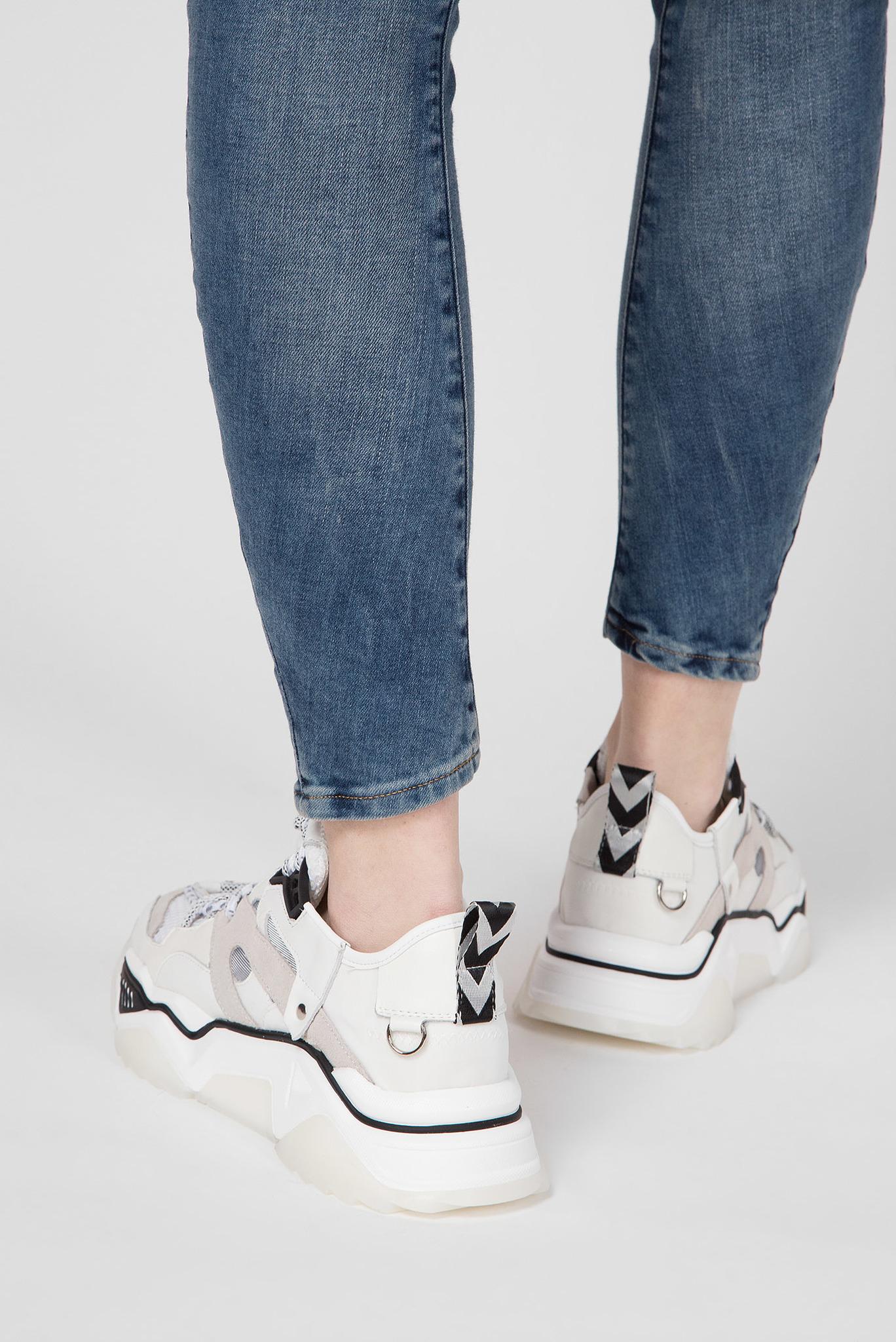 Женские белые кожаные кроссовки Preppy