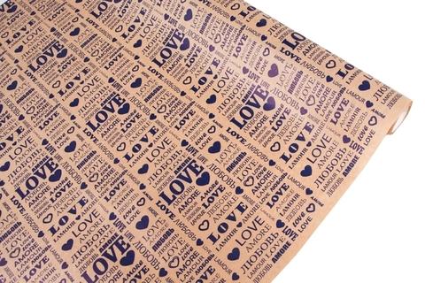 Бумага крафт 40гр/м2, 70см x 10м, Love, цвет:синий