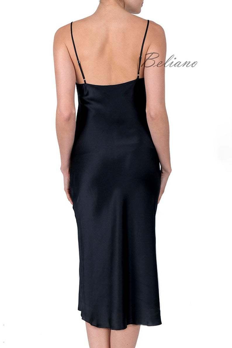 Черное миди платье за колено из натурального шелка