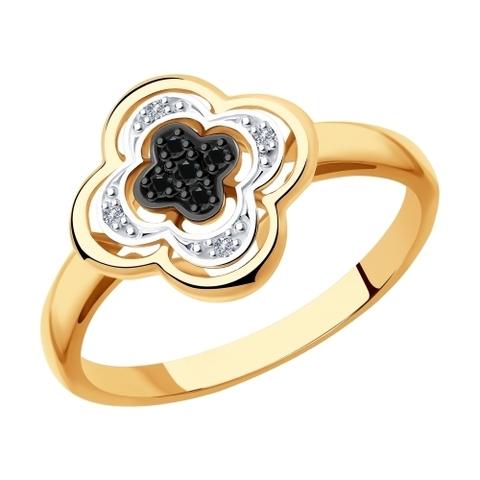 7010060 - Кольцо из золота с бесцветными и чёрными бриллиантами