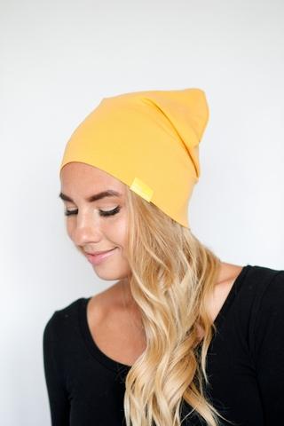 Шапка хлопковая тонкая горчично-желтая