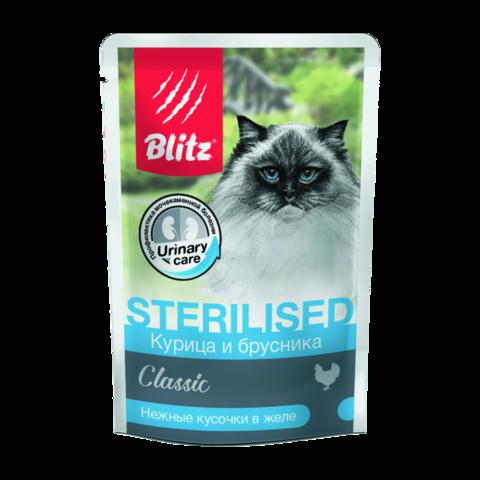 Blitz Classic Консервы для кастрированных котов и стерилизованных кошек с курицей и брусникой кусочки в желе (пауч)