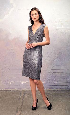 Фото трикотажное платье-футляр с глиттерным напылением и длинным ассиметричным кардиганом - Платье З343а-454 (1)
