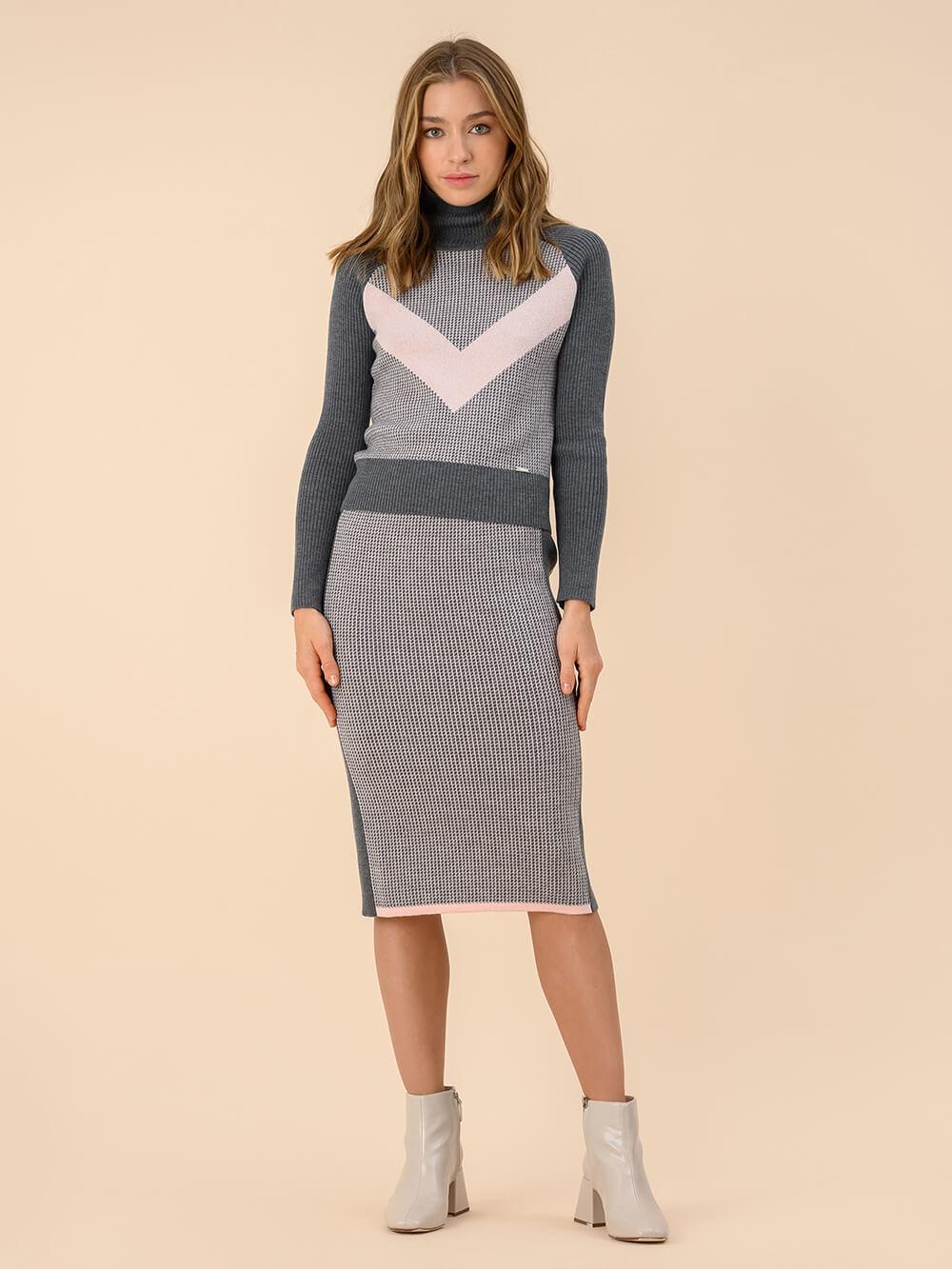 Женская юбка темно-серого цвета из 100% шерсти - фото 1