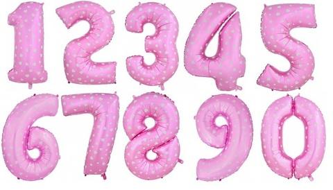 Цифра фольгированная розовая в сердцах 101 см.