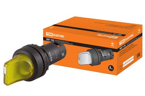 Переключатель на 3 положения с фиксацией SB7-CK3565-24V короткая ручка(LED) d22мм 1з+1р желтый TDM