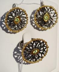 Нало (кольцо + серьги из серебра)