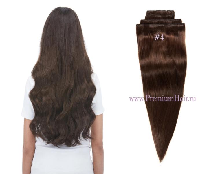 Натуральные волосы на заколках тон 4 коричневый