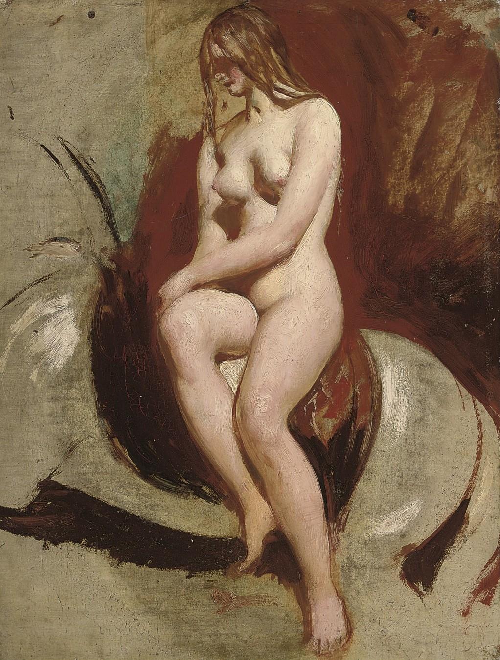 Уильям Этти. Сидящая обнаженная (Seated female nude). 66 x 50.9. Частное собрание.