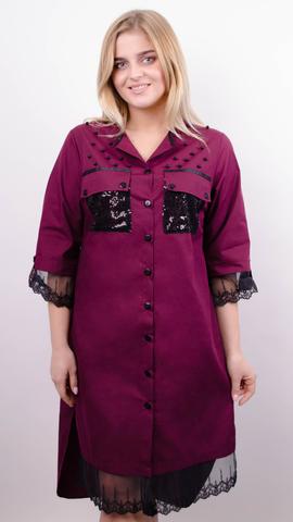 Глем. Нарядное платье-рубашка больших размеров. Бордо+черный.