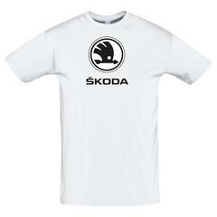 Футболка с принтом Шкода (Škoda) белая 3