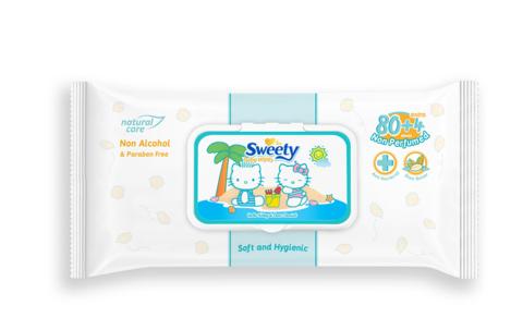 Детские влажные салфетки Sweety (пласт.крышка) 84 шт