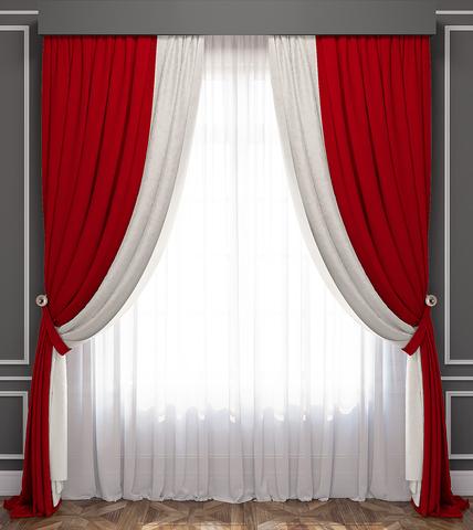Комплект штор и тюль Ламанш красно-белый