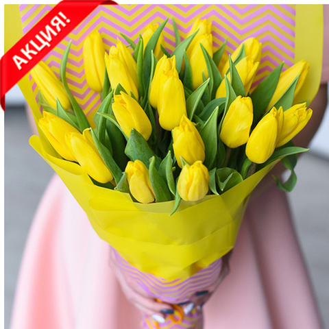 Букет 21 желтый тюльпан