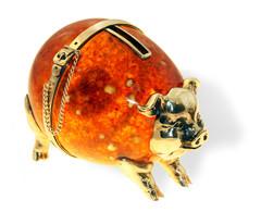 Сувенир Свинья-копилка, янтарь