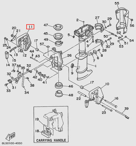 Скоба струбцины правая  для лодочного мотора T3 SEA-PRO (15-11)