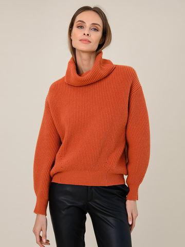 Женский свитер терракотового цвета из шерсти и кашемира - фото 3