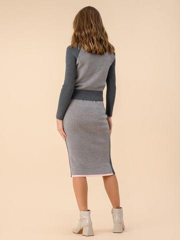 Женская юбка темно-серого цвета из 100% шерсти - фото 2