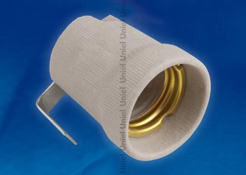 ULH-E27P-Ceramic Патрон керамический с держателем. Цоколь Е27