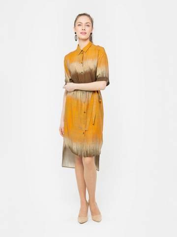 Фото яркое платье-рубашка с ассиметричным низом на пуговицах - Платье З201а-563 (1)