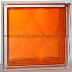Стеклоблок окрашенный изнутри оранжевый Vitrablok  19x19x8