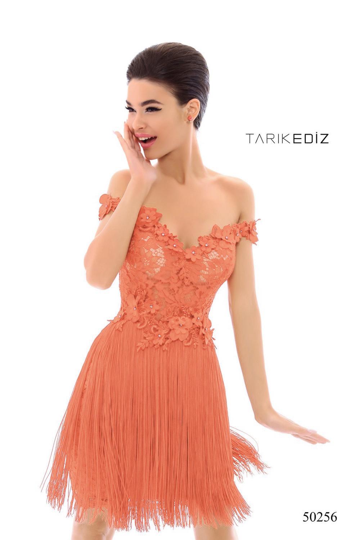 Tarik Ediz 50256 Нежно розовое эффектное платье с бахромой. Застежка: Потайная молния сзади