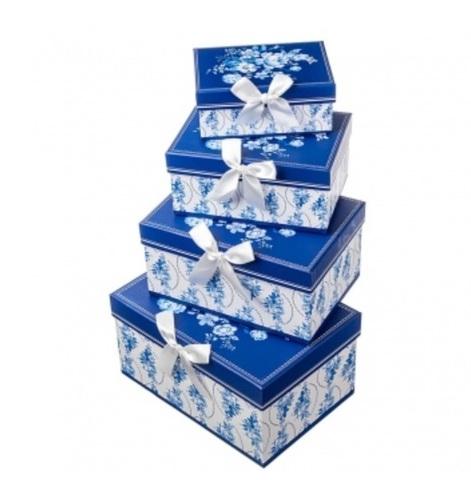 Набор коробок прямоугольных Гжель 4шт, 23х16х13см, белый/синий