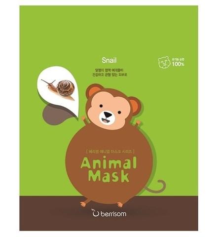 Тканевая маска с муцином улитки BERRISOM Animal mask series monkey 25 мл