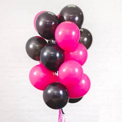 25 шаров 36 см черный и фуксия
