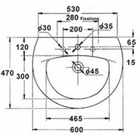 Раковина  Jacob Delafon Patio 66х52,5 см E1998G схема