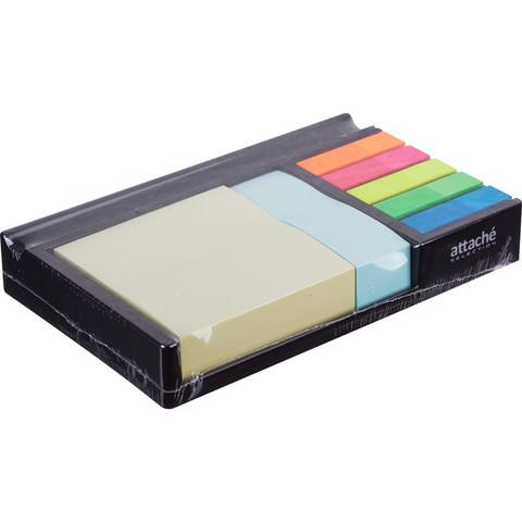 Набор Attache Selection в диспенсере (стикеры 76x76 мм и 76x25 мм, пластиковые закладки 12x45 мм 5 цветов по 20 листов)