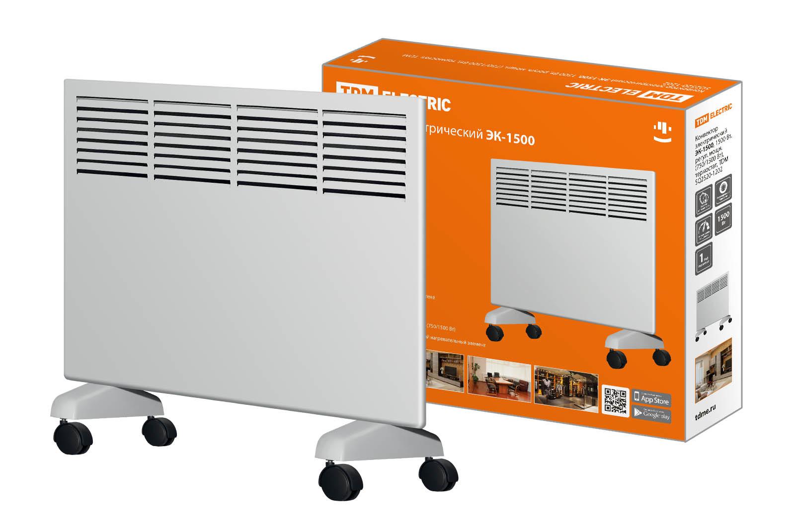 Конвектор электрический ЭК-1500, 1500 Вт, регул. мощн. (750/1500 Вт), термостат, TDM