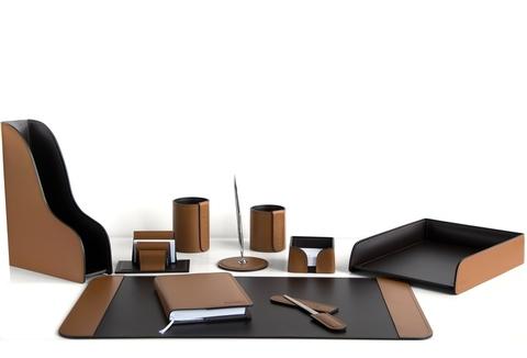 Подарочный канцелярский набор 10 предметов, кожа натуральная, цвет табак/шоколад №63